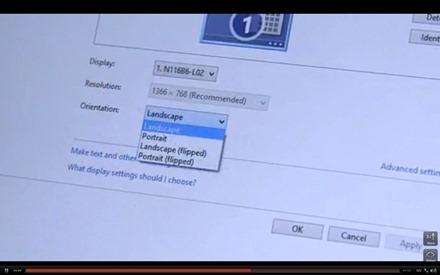 Windows RT Tablet change orientation